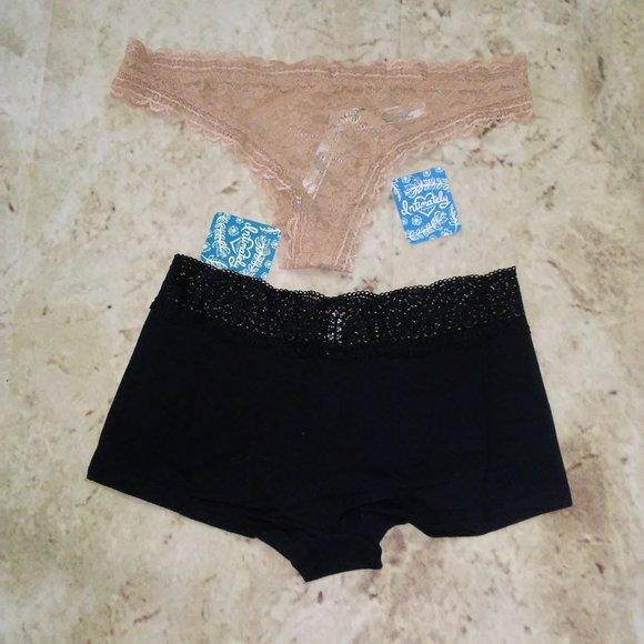 Intimately Free People 2 pc Panty Set Elise Tanga Underwear Nude Sz S NWT